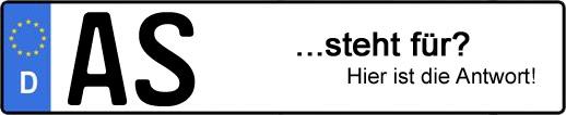 Wofür steht das Kfz-Kennzeichen AS? | Kfz-Kennzeichen - AUTOPURISTEN.net