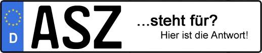 Wofür steht das Kfz-Kennzeichen ASZ? | Kfz-Kennzeichen - AUTOPURISTEN.net