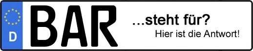Wofür steht das Kfz-Kennzeichen BAR? | Kfz-Kennzeichen - AUTOPURISTEN.net