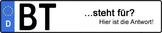 Wofür steht das Kfz-Kennzeichen BT? | Kfz-Kennzeichen - AUTOPURISTEN.net