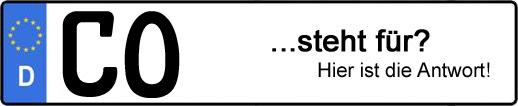 Wofür steht das Kfz-Kennzeichen CO? | Kfz-Kennzeichen - AUTOPURISTEN.net