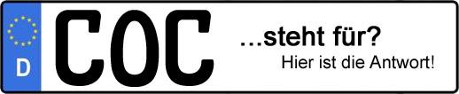 Wofür steht das Kfz-Kennzeichen COC? | Kfz-Kennzeichen - AUTOPURISTEN.net