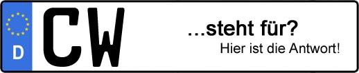 Wofür steht das Kfz-Kennzeichen CW? | Kfz-Kennzeichen - AUTOPURISTEN.net