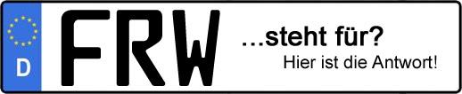 Wofür steht das Kfz-Kennzeichen FRW? | Kfz-Kennzeichen - AUTOPURISTEN.net