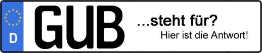 Wofür steht das Kfz-Kennzeichen GUB? | Kfz-Kennzeichen - AUTOPURISTEN.net