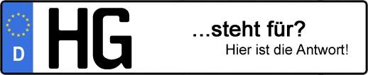 Wofür steht das Kfz-Kennzeichen HG? | Kfz-Kennzeichen - AUTOPURISTEN.net