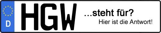 Wofür steht das Kfz-Kennzeichen HGW? | Kfz-Kennzeichen - AUTOPURISTEN.net