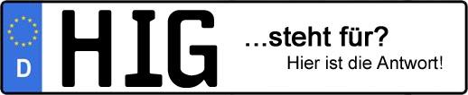 Wofür steht das Kfz-Kennzeichen HIG? | Kfz-Kennzeichen - AUTOPURISTEN.net
