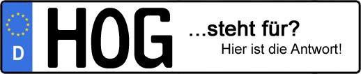 Wofür steht das Kfz-Kennzeichen HOG? | Kfz-Kennzeichen - AUTOPURISTEN.net