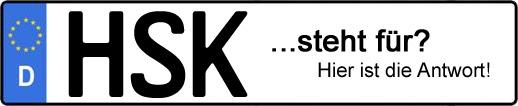 Wofür steht das Kfz-Kennzeichen HSK? | Kfz-Kennzeichen - AUTOPURISTEN.net