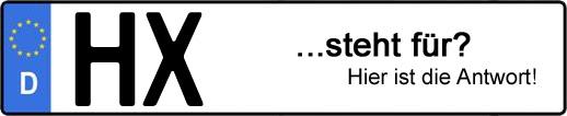 Wofür steht das Kfz-Kennzeichen HX? | Kfz-Kennzeichen - AUTOPURISTEN.net