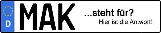Wofür steht das Kfz-Kennzeichen MAK?   Kfz-Kennzeichen - AUTOPURISTEN.net
