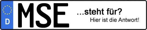 Wofür steht das Kfz-Kennzeichen MSE?   Kfz-Kennzeichen - AUTOPURISTEN.net