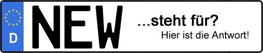 Wofür steht das Kfz-Kennzeichen NEW?   Kfz-Kennzeichen - AUTOPURISTEN.net