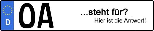 Wofür steht das Kfz-Kennzeichen OA? | Kfz-Kennzeichen - AUTOPURISTEN.net