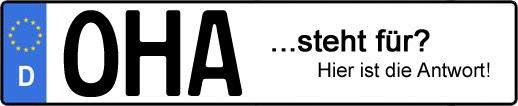 Wofür steht das Kfz-Kennzeichen OHA? | Kfz-Kennzeichen - AUTOPURISTEN.net