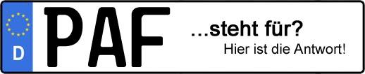 Wofür steht das Kfz-Kennzeichen PAF? | Kfz-Kennzeichen - AUTOPURISTEN.net