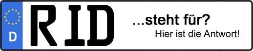 Wofür steht das Kfz-Kennzeichen RID?   Kfz-Kennzeichen - AUTOPURISTEN.net