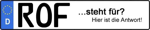 Wofür steht das Kfz-Kennzeichen ROF?   Kfz-Kennzeichen - AUTOPURISTEN.net