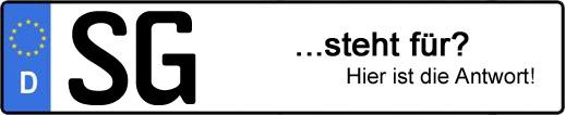 Wofür steht das Kfz-Kennzeichen SG? | Kfz-Kennzeichen - AUTOPURISTEN.net