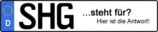 Wofür steht das Kfz-Kennzeichen SHG? | Kfz-Kennzeichen - AUTOPURISTEN.net