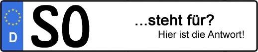Wofür steht das Kfz-Kennzeichen SO? | Kfz-Kennzeichen - AUTOPURISTEN.net