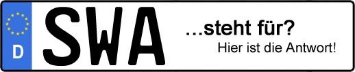 Wofür steht das Kfz-Kennzeichen SWA? | Kfz-Kennzeichen - AUTOPURISTEN.net