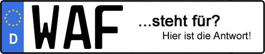 Wofür steht das Kfz-Kennzeichen WAF? | Kfz-Kennzeichen - AUTOPURISTEN.net