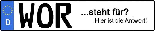 Wofür steht das Kfz-Kennzeichen WOR? | Kfz-Kennzeichen - AUTOPURISTEN.net