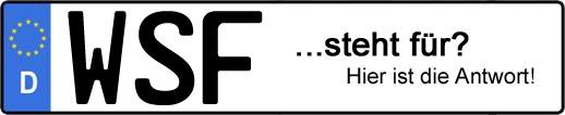 Wofür steht das Kfz-Kennzeichen WSF? | Kfz-Kennzeichen - AUTOPURISTEN.net