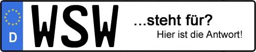 Wofür steht das Kfz-Kennzeichen WSW? | Kfz-Kennzeichen - AUTOPURISTEN.net